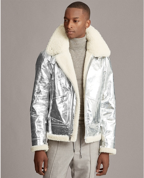Foil Leather-Shearling Jacket