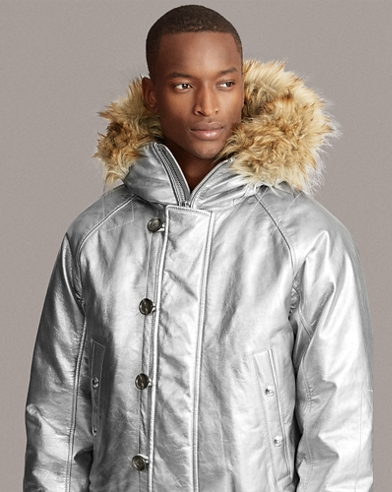 Foil Leather Down Jacket