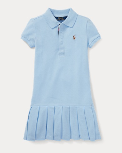 Pleated Cotton Mesh Polo Dress