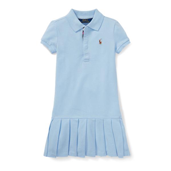 Ralph Lauren Pleated Cotton Mesh Polo Dress Elite Blue 3T