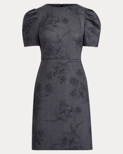 Puff-Sleeve Ponte Dress