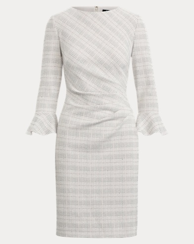 Plaid Ruched Jersey Dress