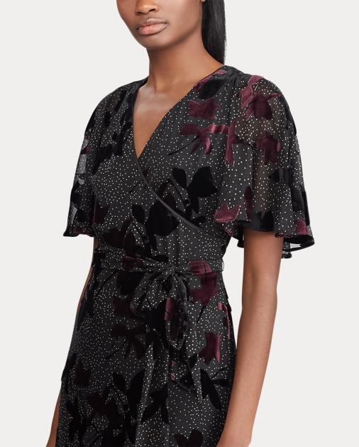 51de395a2e Velvet-Trim Floral Wrap Dress