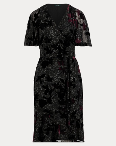 Velvet-Trim Floral Wrap Dress