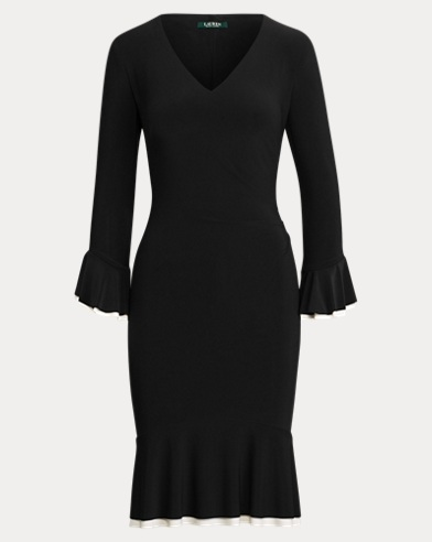Contrast Ruched Jersey Dress