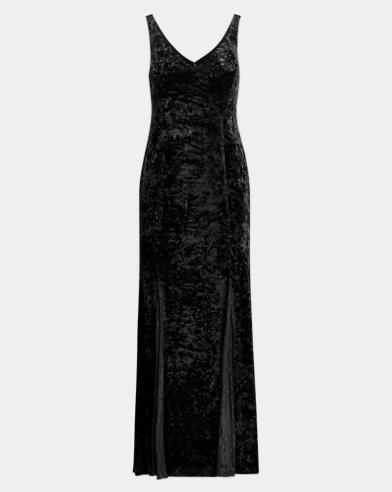 Lace-Trim Velvet Gown