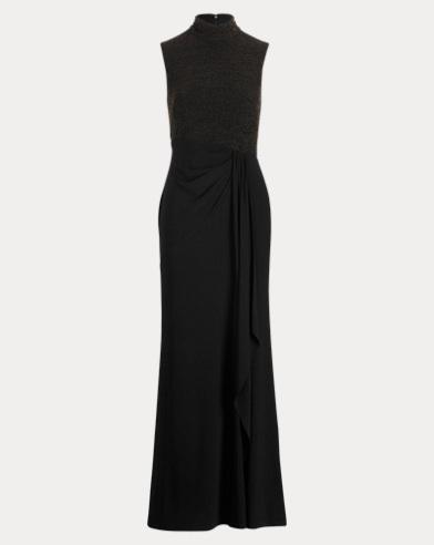 Ruffle-Trim Mockneck Gown