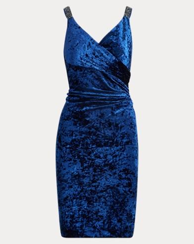 Sequin-Trim Velvet Dress