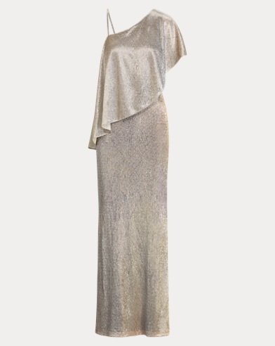 Ruffled-Overlay Metallic Gown