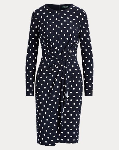 Dot Shirred Jersey Dress