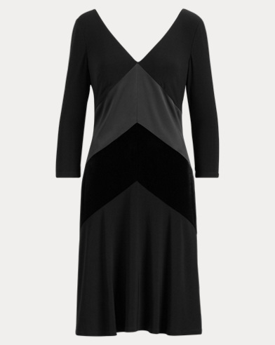 Satin-Velvet-Trim Dress