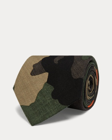 Camo-Print Wool Narrow Tie
