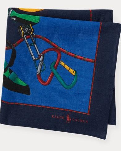 Pañuelo de bolsillo estampado en lana y seda