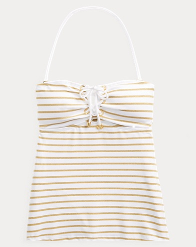 Striped Lace-Up Tankini