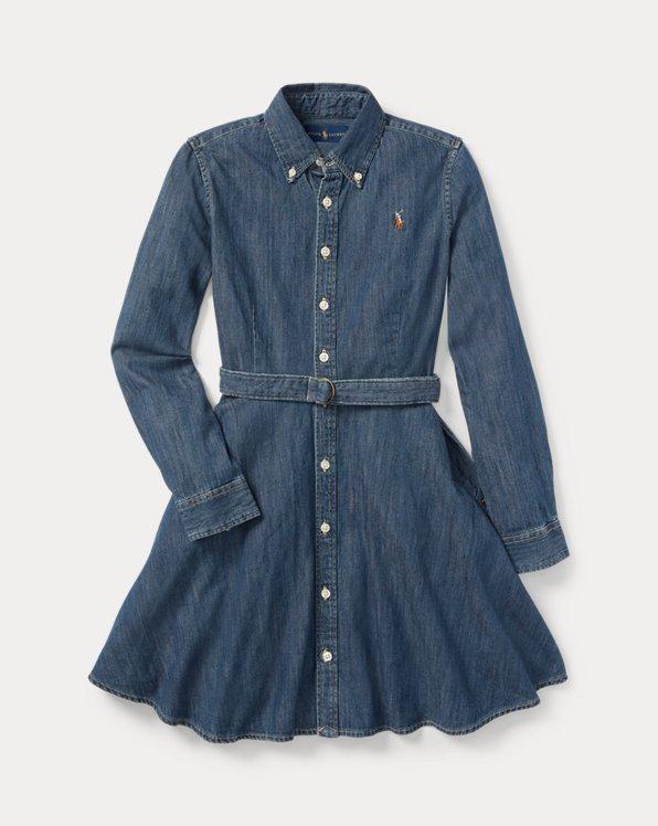Belted Cotton Denim Shirtdress