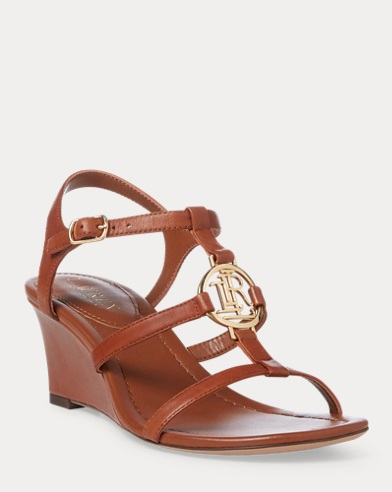 Sandales compensées Elina en cuir