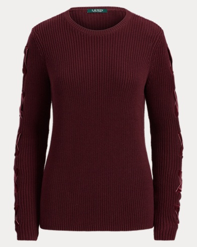 Lace-Up Cotton Sweater