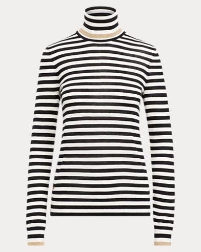 Striped Silk-Blend Turtleneck