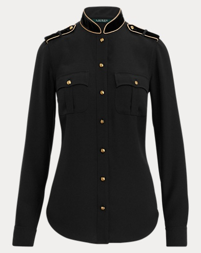 Velvet-Trim Georgette Shirt