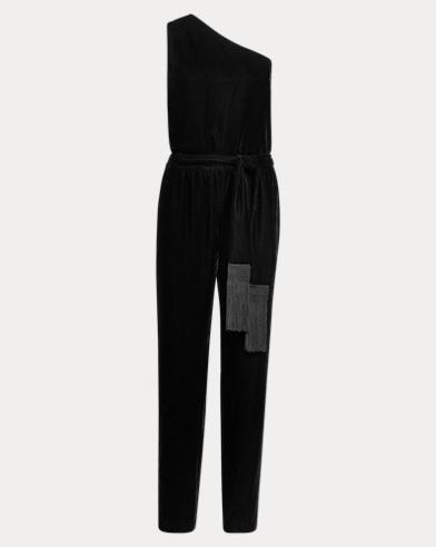Velvet One-Shoulder Jumpsuit