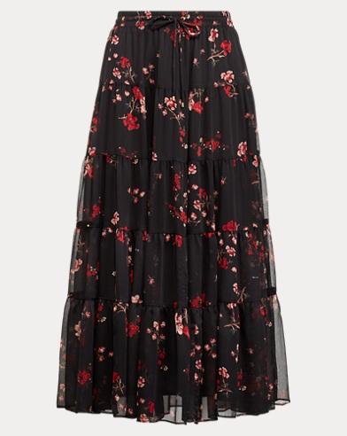 Floral Georgette Peasant Skirt