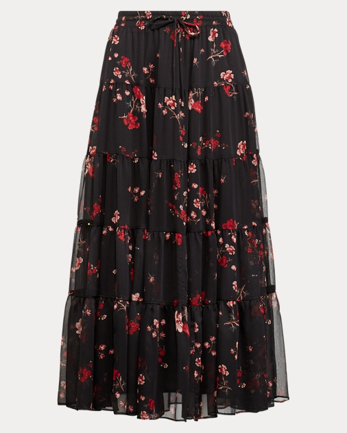 d65462d3fb Lauren Floral Georgette Peasant Skirt 1