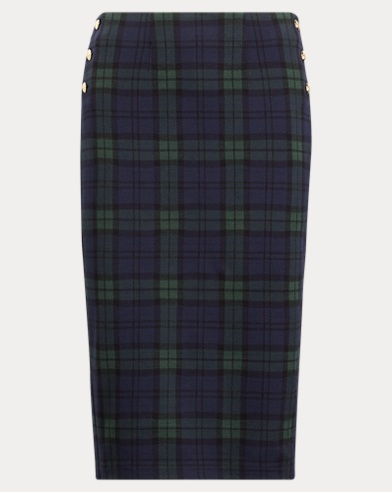 Plaid Knit-Jacquard Skirt