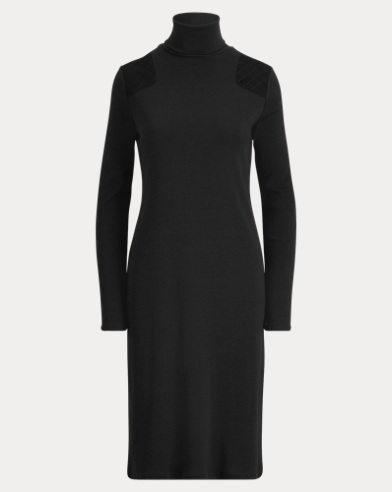 Quilted-Patch Turtleneck Dress