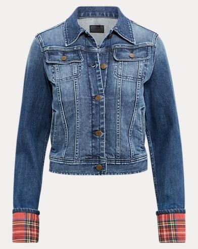 Tartan-Cuff Denim Jacket