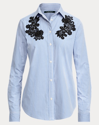 Lace-Patch Cotton Shirt