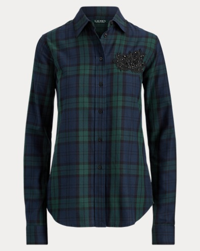 LRL-Patch Tartan Cotton Shirt