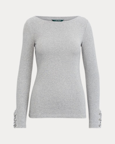 Ribbed Cotton Boatneck Top
