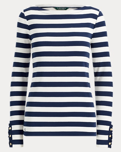 Striped Jersey Boatneck Top