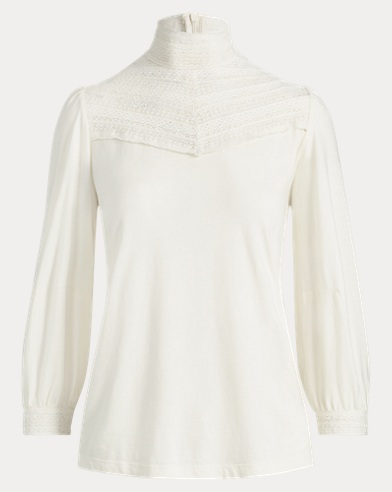 Lace-Yoke Bishop-Sleeve Top