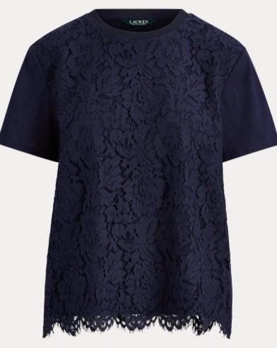 Lace-Front Jersey T-Shirt