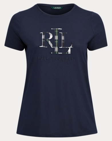 Plaid-Logo Appliqué T-Shirt