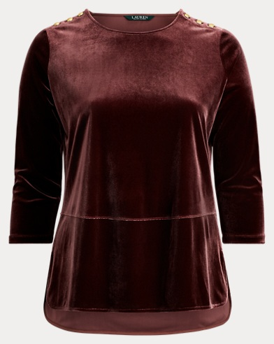 Georgette-Velvet Tunic Top