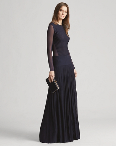 Pleated Long-Sleeve Gown