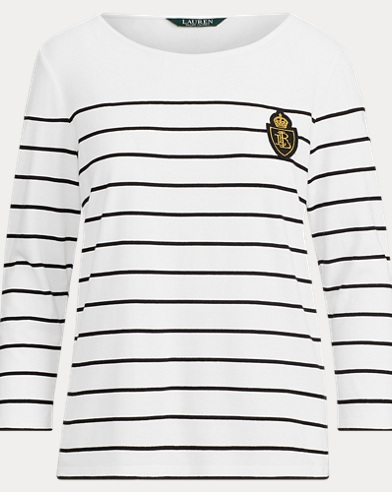 Crest Striped Jersey Top