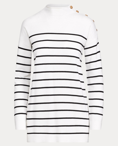 Striped Button-Trim Sweater