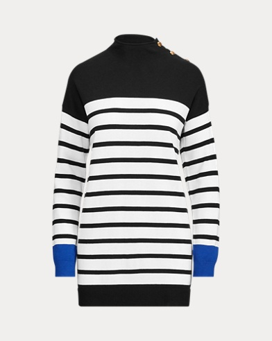 Striped Button-Trim Sweater