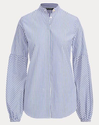 Plaid Puff-Sleeve Cotton Top