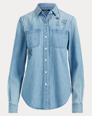 Print Denim Button-Down