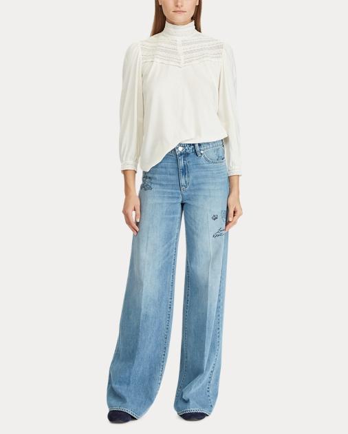5a5c3155e9 Print Wide-Leg Jean