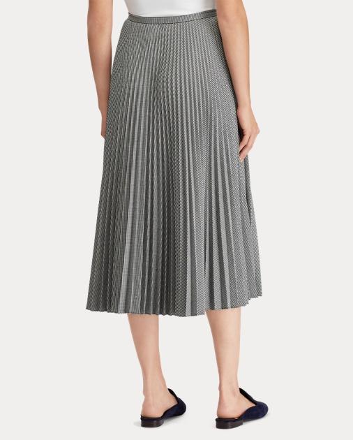 423b16cf8 Lauren Pleated Twill A-Line Skirt 4