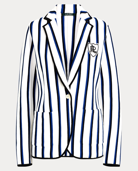 Bullion-Patch Striped Blazer
