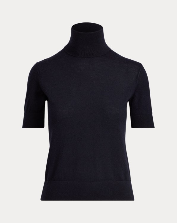 Cashmere Short-Sleeve Roll Neck