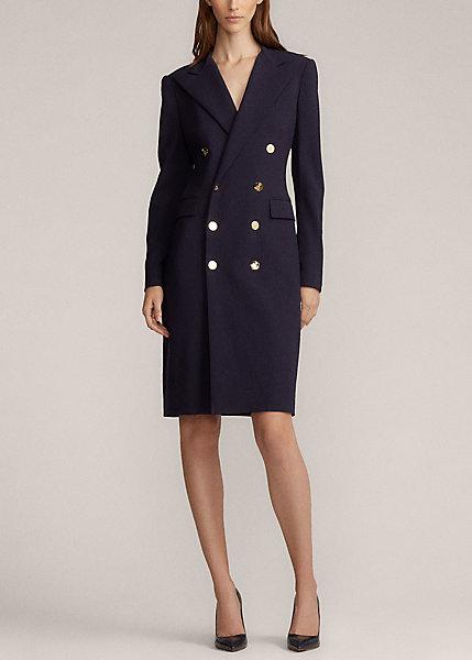 Ralph Lauren Women's Wellesly Double-breasted Wool-blend Dress In Midnight