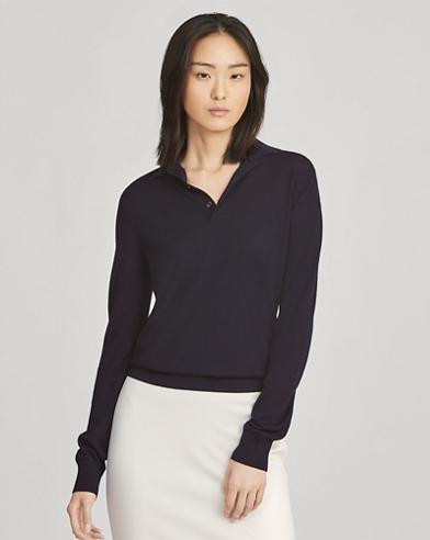 Cashmere Long-Sleeve Polo