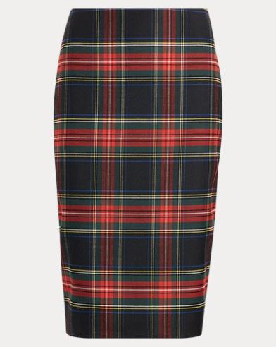 Tartan Wool-Blend Pencil Skirt